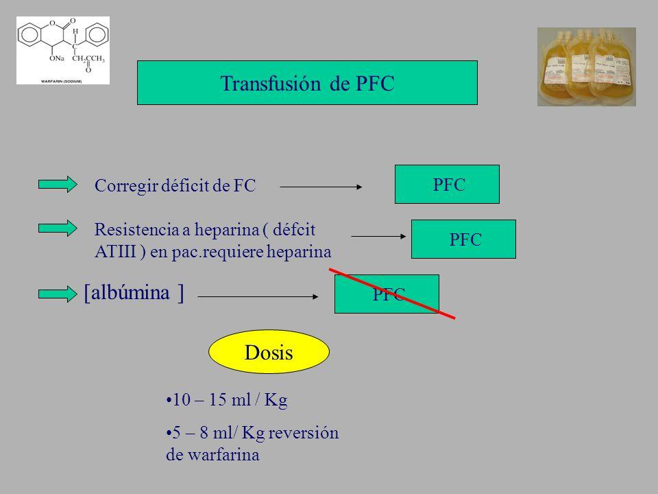 Transfusión de PFC [albúmina ] Dosis PFC Corregir déficit de FC